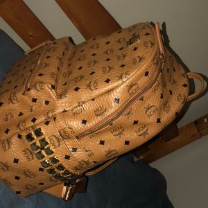 MCM backpack with studs tan color medium sized